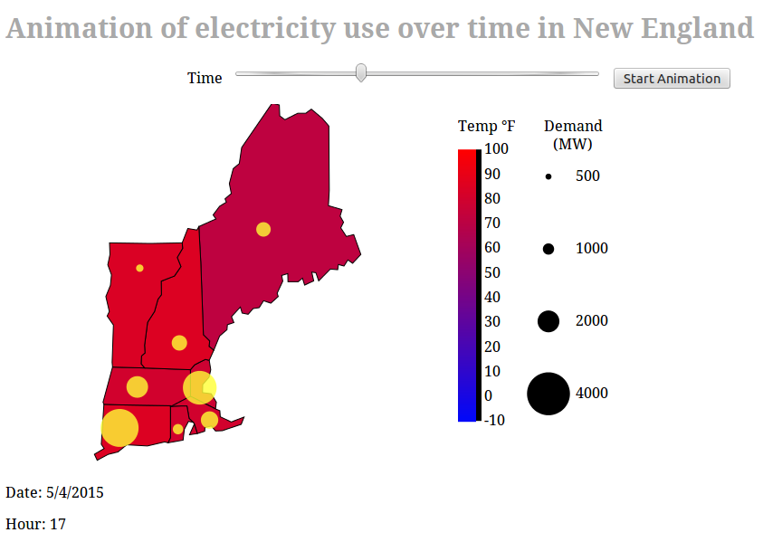 Screenshot of an interactive map showing electricity use across New England